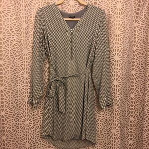 Polka dot print gray wrap dress